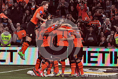 Shakhtar team selebrate a goal Editorial Stock Photo