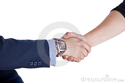 Shaking hand with a client