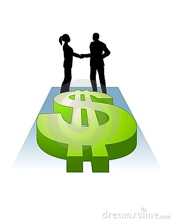 Shaking Hands Dollar Signs