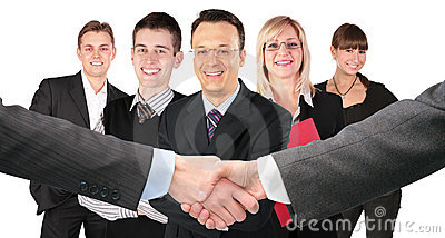 Shaking hands and five business group collage