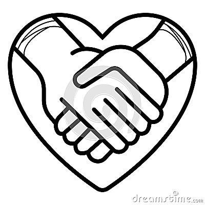 Shaking hands vector icon illustration Cartoon Illustration