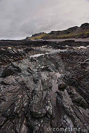 Free Shale Rocks On The Arctic Coast Royalty Free Stock Images - 16912119