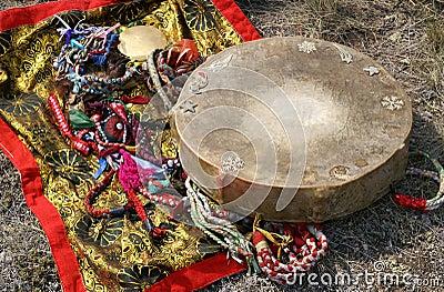 Shaman tambourine and mirror