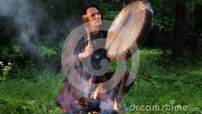 Shamanic ritual in the forest stock video footage
