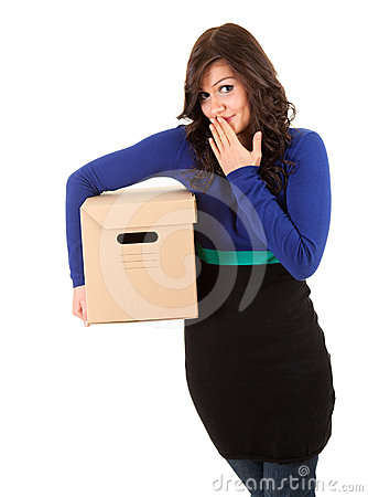 Shame girl with cardboard box