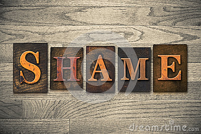 Shame Wooden Letterpress Theme Stock Photo