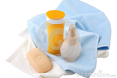 Shampoo, body lotion and soap isolated