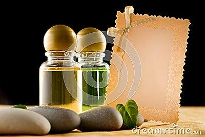 Shampoo bottles with stones