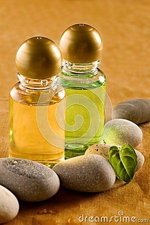 Free Shampoo Bottles With Stones Stock Image - 22577691