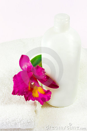bottle, orchid & towels