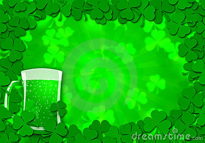 Shamrock Leaves Glass of Beer for St Patricks
