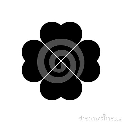 Shamrock silhouette - black four leaf clover icon. Good luck theme design element. Simple geometrical shape vector Vector Illustration