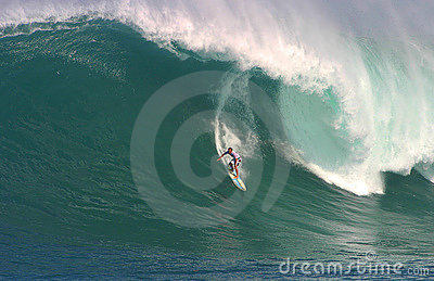 Shane Dorian Surfing at Waimea Bay Editorial Stock Image