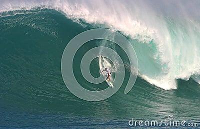 Shane Dorian Surfing at Waimea Bay Editorial Stock Image