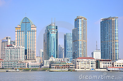 Shanghai Bund buildings beside Huangpu river Editorial Stock Photo