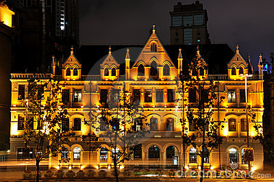 Shanghai Bund historical business buildings night
