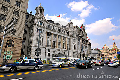 Shanghai Bund Street and buildings, China Editorial Stock Image