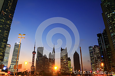 Shanghai city landscape night skyline