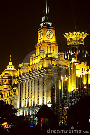 Shanghai city night view, clock tower