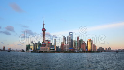 Shanghai from day to night, zooming timelapse. stock video footage