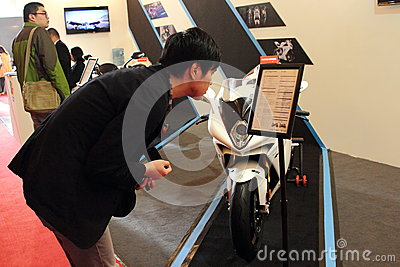 Shanghai Expo exhibition of luxury living in Augusta motorcycle Editorial Stock Photo