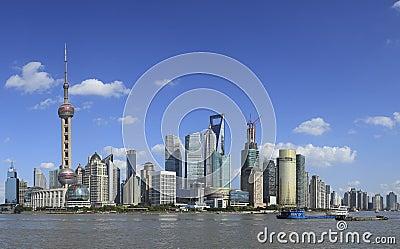 Shanghai-Grenzstein-Skyline