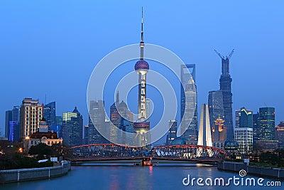 Shanghai huangpu river scenery on both sides