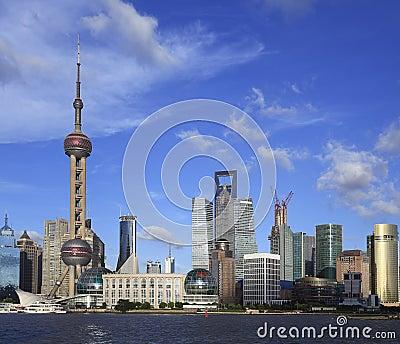 Shanghai landmark skyline at city landscape