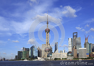 Shanghai landmark skyline at city landscape
