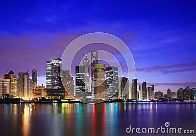 Shanghai landmark skyline at dawn