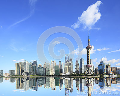 Shanghai landmark skyline at New city landscape