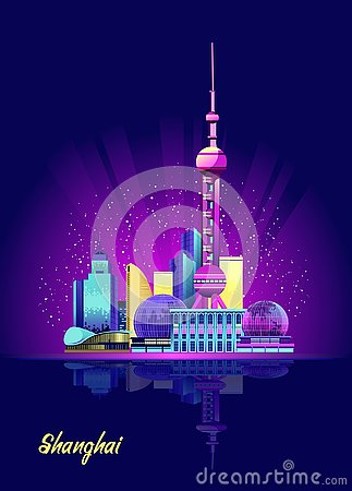 Free Shanghai Neon City Royalty Free Stock Images - 128717129