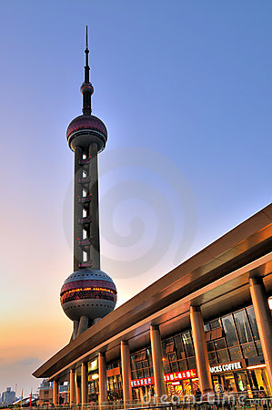 Shanghai oriental pearl tower and commercial area Editorial Stock Photo
