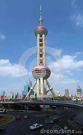 Shanghai Pearl of the Orient Tower Editorial Stock Photo