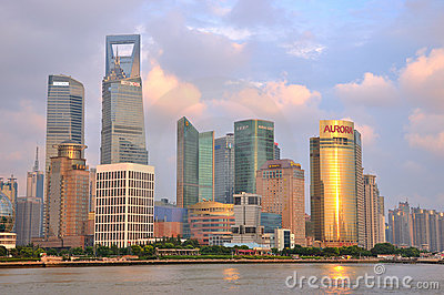 Shanghai Pu-dong business district, China Editorial Stock Image