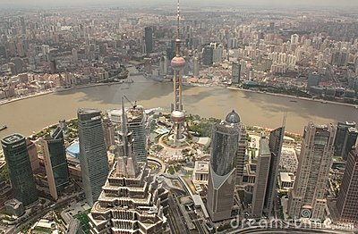 Shanghai Pudong aerial view Editorial Photo