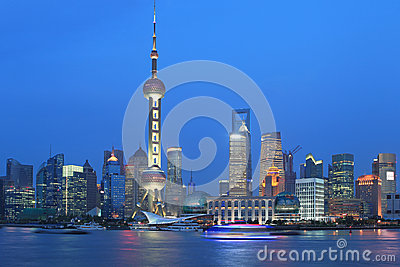Shanghai pudong lujiazui night scene