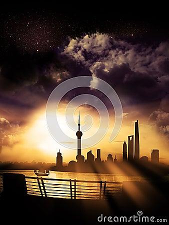Shanghai Pudong - Skyline / Silhouette Dawn