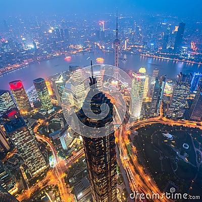 Free Shanghai Skyline At Night. Stock Photos - 72339603