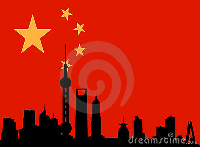 Shanghai skyline with flag of china