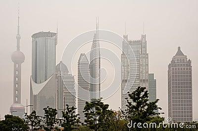 Shanghai skyline with heavy fog Editorial Stock Photo