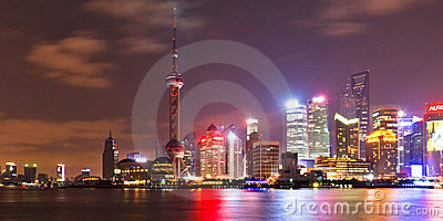Shanghai skyline at night 2 Editorial Photography