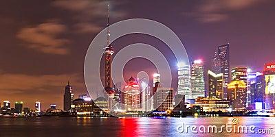 Shanghai skyline at night 2 Editorial Photography