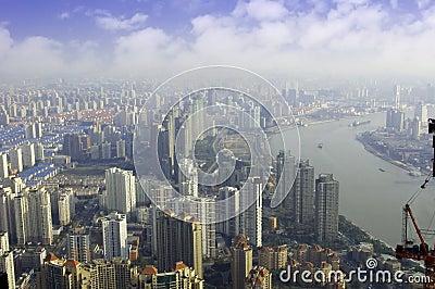 Shanghai skyline overlooking