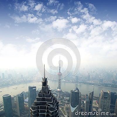 Shanghai skyline overlooking Editorial Photo