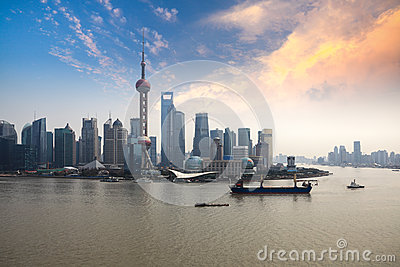 Shanghai skyline with sunset glow