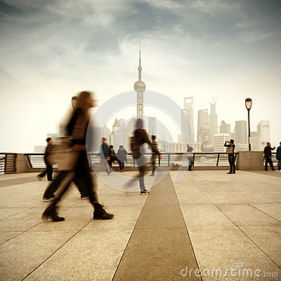 Shanghai street and pedestrian