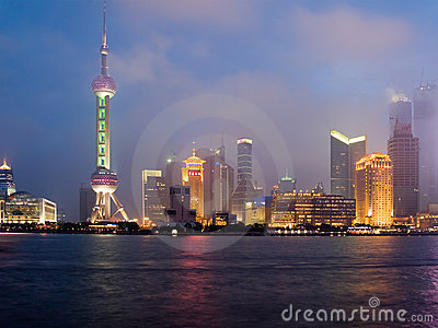 Shanghai view over Pudong area Editorial Image