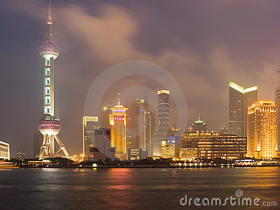 Shanghai view over Pudong area Editorial Stock Image