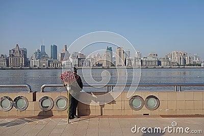 Shanghai waitan with street vendor Editorial Photography
